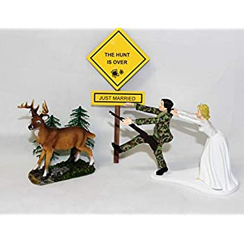 Wedding Reception Ceremony Party Deer Dog Hunter with Sign Cake Topper
