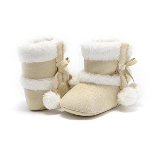 Voberry Baby Toddler Girls Knit Soft Winter Warm Snow Boot Fur Trimmed Pom Pom Boots (12~18 Month, Beige 3)