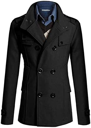 メンズ コート ジャケット 長袖 ダブルボタン ショート トップス 無地 春秋冬 ビジネス 日常 シンプルデザイン
