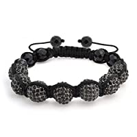 Bling Jewelry Crystal Shamballa Inspired Bracelet Simulated Onyx Beads