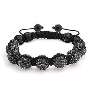 Bling Jewelry Crystal Shamballa Inspired Bracelet Simulated Onyx Beads