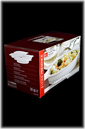 Set 4 Large 10.5'' Freezer-to-Oven White Porcelain Appetizer Au Gratin Dishes by American Chateau (Image #3)