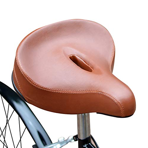 SENQI Scooter Cushion Beach Bike Cushion Electric Vehicle Seat Bicycle Saddle High Memory Foam Cover(Brown)