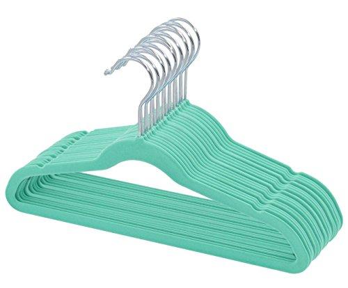 Kids Velvet Hangers Non Slip Space Saver - Mint Green - 30 Pack