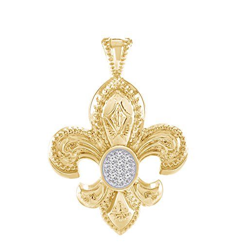 Pretty Jewels Genuine Diamond 925 Sterling Silver 10k Yellow Gold Finish Fleur-de-Lis Pendant Necklace (0.13 Carat)