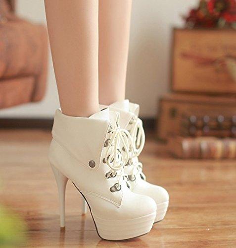 white stiletto pour Femme Three's Bottes Sqa8Acx6