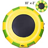 Goplus Inflatable Water Bouncer Portable Jump Water Trampoline Bounce Swim Platform for Water Sports Indoor or Outdoor Use with Electric Pump (10ft)