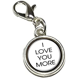 Graphics and More I Love You More Antiqued Bracelet Pendant Zipper Pull Charm with Lobster Clasp Valentine's Day Gifts Idea