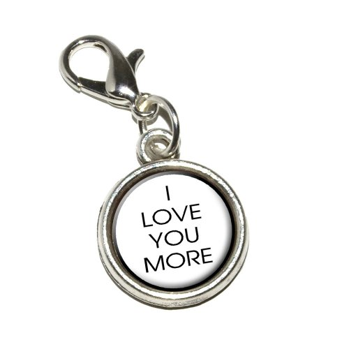 Graphics and More I Love You More Antiqued Bracelet Pendant Zipper Pull Charm with Lobster ()