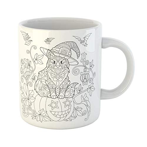 Tarolo 11 Oz Mug Coffee Mug Ceramic Tea Cup Coloring Page of Cat in Hat Sitting on Halloween Pumpkin Flying Bats Spider Lantern Candle Freehand Sketch Drawing Large C-handle Family and Office Gift]()