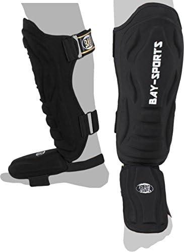 """BAY® """"Black Demon Spann-Schienbeinschutz Form-Schaum mit Stoff, Muay Thai, TKD, Thaiboxen schwarz, XXS-XS-S-M-L-XL-XXL Kickboxen Kick-Boxen Ristschutz Ristschoner Ristschützer Ristpolster RIST"""