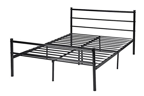 platform bed frame mattress foundation sturdy metal box spring replacement with stable headboard and 10 leg under bed storage quiet and noiseless
