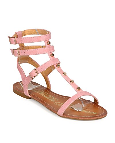 DbDk ED98 Women Leatherette Open Toe Strappy Studded Gladiator Sandal Pink