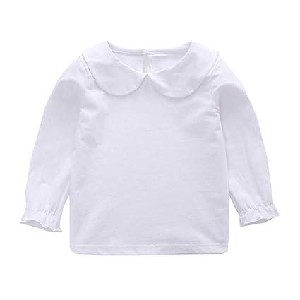 560b0134b946f Milkiwai ベビー服 キッズ 女の子 ブラウス 長袖 トップス トレーナー 可愛い 純色 ストライプ size 70 (ホワイト)