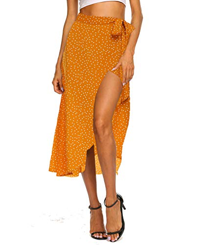 (Womens Skirts Summer Bohemian Polka Dots Swing Midi Skirt with Split (XL,Orange))