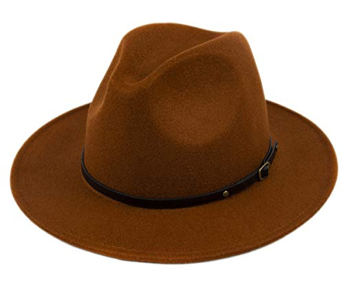 Lanzom Womens Classic Wide Brim Floppy Panama Hat Belt Buckle Wool Fedora Hat (One Size, Coffee)