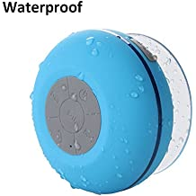 Waterproof Bluetooth Shower Speaker, Lonchan Water Resistant Handsfree Portable Wireless Shower Speaker ,Build-in Microphone, Solid Suction Cup, 6 hrs Play Time,Blue