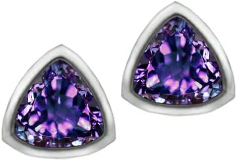 Star K 7mm Trillion Cut Simulated Alexandrite Earrings Studs