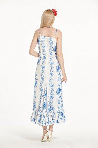 Hecho en Hawaii Hawaiian Luau vestido de mujer tradicional Muumuu volantes en Blanco con línea floral White with Line Floral