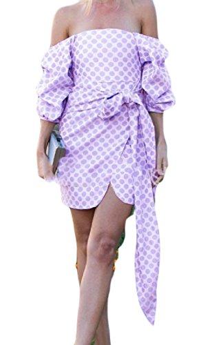 Coolred-femmes Ont Imprimé La Mode Robe De Cocktail Arc Bustier Classique Violet
