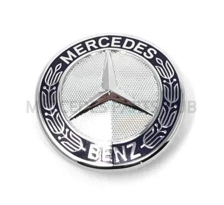 - Mercedes Benz Genuine Vehicle Hood Star Emblem Badge (221-817-00-16, Chrome and Blue Laurel Wreath)