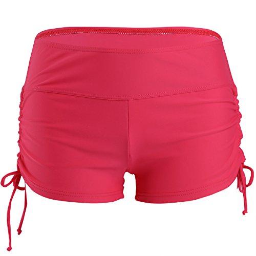 iEFiEL Short de Baño Culote Bañador Traje de Baño para Mujer Chica Confortable Permeable al Aire Rojo