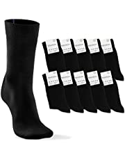 Socks Mens Womens 10 Pack Black + Colour Marking for Easy Laundry Sorting, breathable Soft Cotton | Classic Calf Sock Multipack Size 4,5-13 | Business Office Work Sport Suit Travel Dress Shoes Clothes