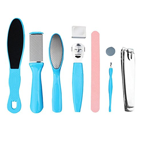 8 in 1 Pedicure kit Foot File Foot Rasp Best Callus Remover for Removing Hard, Cracked, Dead Skin Cells.Bonus Nail ()