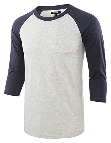 Estepoba Men's Casual Basic Vintage 3/4 Raglan Sleeve Jersey Baseball Tee Shirt H.Oatmeal/C.Blue L