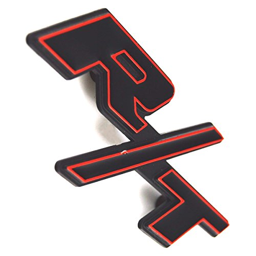 Exotic Store Modified Modified Car Red Trim Black R/T RT Fender Trunk Tailgate Emblem Dodge Ram 1500 Challenger Charger Badge (Red Trim)