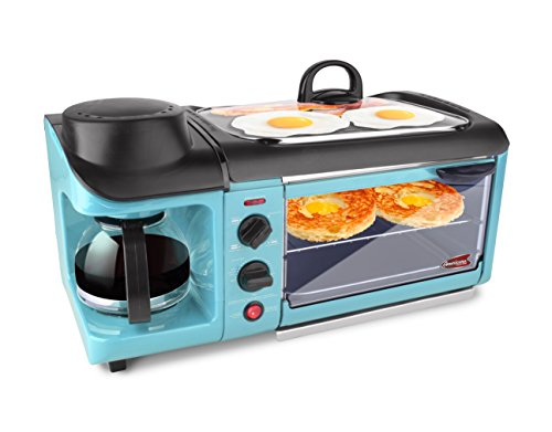 Elite EBK-1782BL Maxi-Matic 3-in-1 Deluxe Breakfast Station, Blue (Toaster Oven And Coffee Maker compare prices)