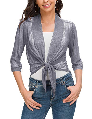 ZHENWEI Women's Knit Cardigan Sweaters 3/4 Sleeve Open Front Shrug Cropped Bolero Grey