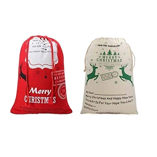 2 Pack Christmas Canvas Bags, North Pole, Large Santa Bags for Kids Present , Christmas Decorations Holder, Christmas Bag Santa Present Bag for Self Personalization,Large Capacity(Random Pattern)