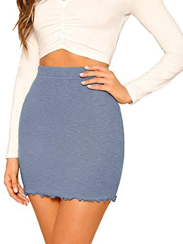 SheIn Women's Ribbed-Knit Stretchy Cotton Short Mini Pencil Bodycon Skirt