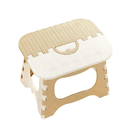 SAQIMA Seat Step Stool Plastic Multi Purpose Folding Step Stool Home Train Outdoor Storage Foldable Home Bedroom Decoration (Beige)