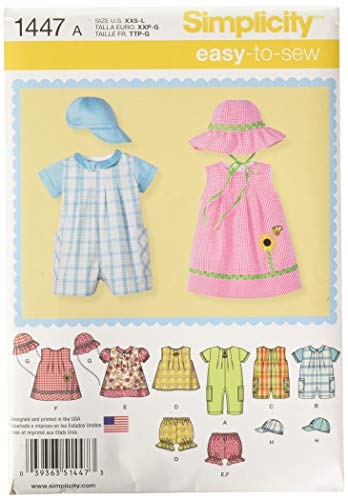 Simplicity 1447 Baby's Romper, Dress, Top, Underwear, and Hat Sewing Patterns, Sizes XXS-L