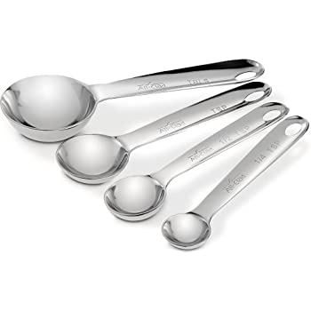 All-Clad 59918 Stainless Steel Measuring Spoons Cookware Set, 4-Piece, Silver