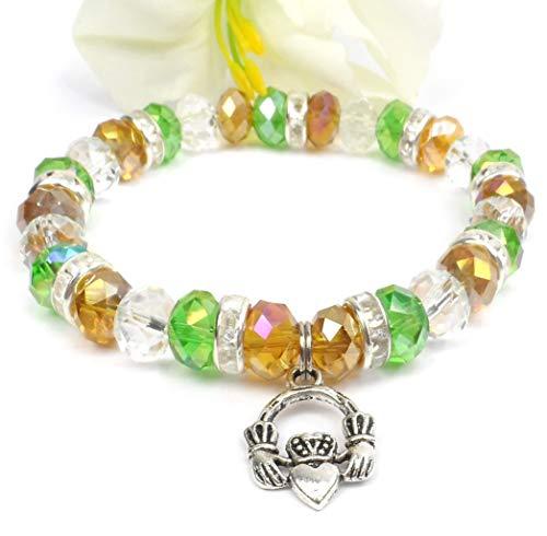 Bracelet Irish Beaded (Crystal Green and Gold Claddagh Stretch Bracelet, Irish Pride Jewelry)