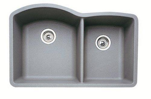1.75 Medium Double Bowl - Blanco Diamond 1-3/4 Bowl Silgranit II (Um) - Metallic Gray