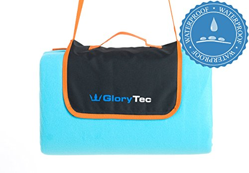 GloryTec Extra Large Picnic & Outdoor Blanket 78 x 78 -Water-Resistant Triple Layers, Handy Mat with Strap for The Beach, Camping - Waterproof Sandproof