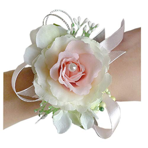 (Arlai Wrist Corsage Wristband Roses Wrist Corsage for Prom, Party, Wedding Pink/White)
