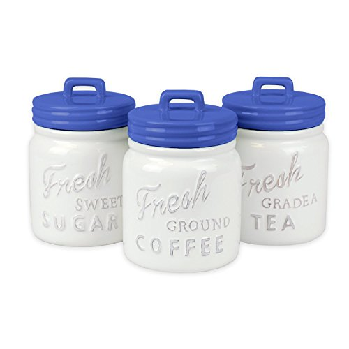 DII 3-Piece Vintage, Retro, Farmhouse Chic, Mason Jar Inspired Ceramic Kitchen Canister with Airtight Lid for Food Storage, Store Coffee, Sugar, Tea, Spices and More - Blueberry