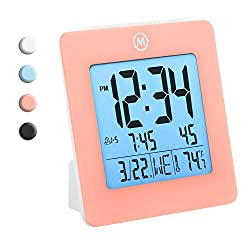 MARATHON CL030050PI Digital Dual Alarm Clock with Day, Date, Temperature and Backlight. Color-Pink. Batteries Included. Latest Edition