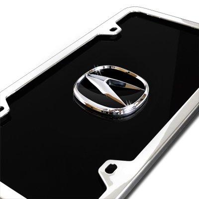 Acura Black Acrylic License Plate with Chrome Frame Kit Au-Tomotive Gold INC