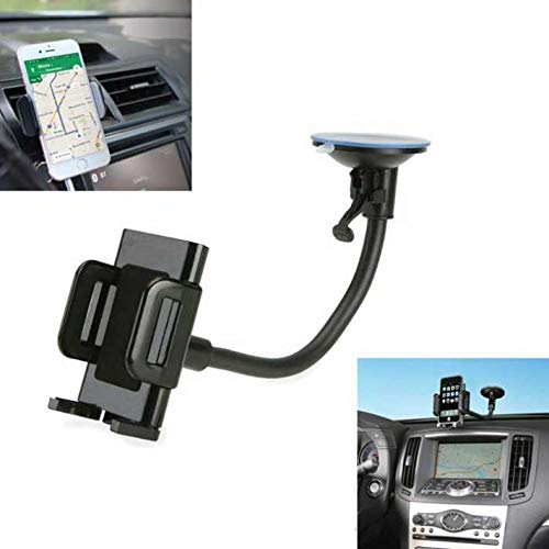 2-in-1 Car Mount Windshield Dash AC Air Vent Phone Holder Rotating Dock Gooseneck for at&T LG G4 - at&T LG G5 - at&T LG G6 - at&T LG K10 - - G4 Clip Socket