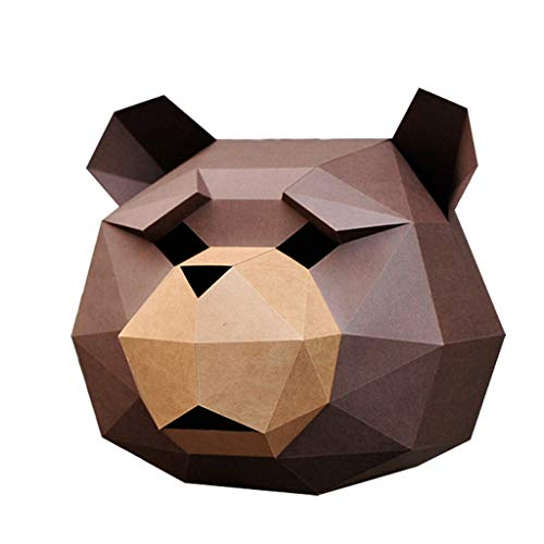 Jizhen Halloween Party Creative Handmade Paper mask DIY Teddy Bear Hood Masquerade Unisex Children Cute Full face (Color : Brown) ()