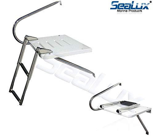SeaLux Marine Outboard Fiberglass Swim Platform with Over TOP Mount 2-Step Ladder