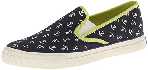 Sperry Top-Sider Mujer Mariner WH Fashion Sneaker Navy/Limeade Anchors Canvas