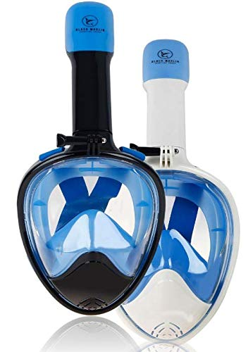 Upgraded Full Face Snorkel Mask Snorkelling Mask for Adults & Kids Panoramic Snorkling Seaview 180° Degree Anti Fog Anti Leak Best Snorkel Gear Goggles Additional GoPro Mount (Black, Small) (Best Paintball Gear Bag 2019)