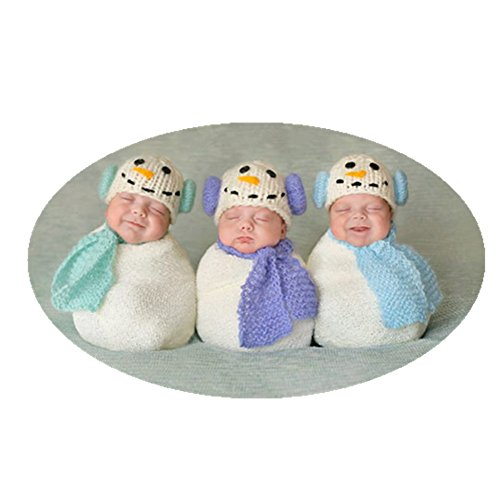 Coberllus Christmas Newborn Baby Photo Prop Boy Girl Photo Shoot Outfits Crochet Costume Unisex Cute Infant Snowman Hat Scarf